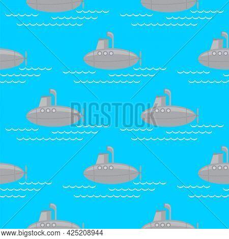 Submarine Seamless Pattern Isolated On Blue Background