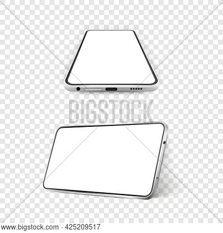 Two White Realistic Smartphones Mockup. 3d Mobile Phone With Blank White Screen. Modern Cell Phone T