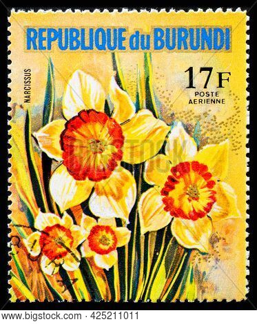 Burundi - Circa 1973: A Postage Stamp From Burundi Showing Garden Flowers Narcissus