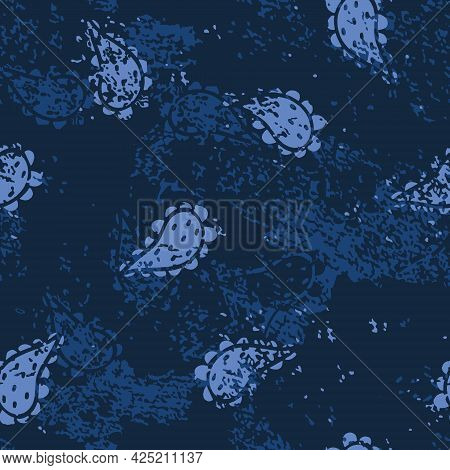 Vector Denim Texture With Paisley Shapes Seamless Pattern Background. Perfect For Fabric, Wallpaper