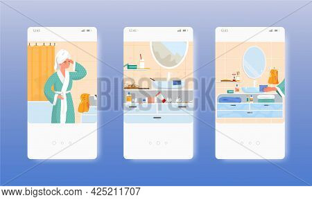Messy And Clean Bathroom, Before After Cleaning. Mobile App Screens, Vector Website Banner Template.
