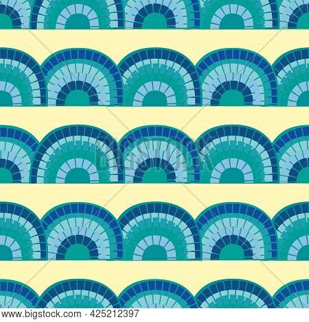 Cute Vector Mosaic Rainbow Seamless Pattern Background. Rows Of Tile Effect Blue Rainbows On Pastel