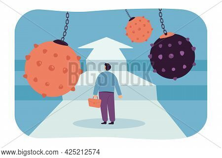 Brave Cartoon Businessman In Front Of Obstacle Track. Fearless Employee Overcoming Difficulties Or A
