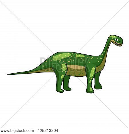 Funny Prehistoric Brontosaurus Dinosaurus. Ancient Wild Monsters Reptiles Cartoon Style. Vector Isol