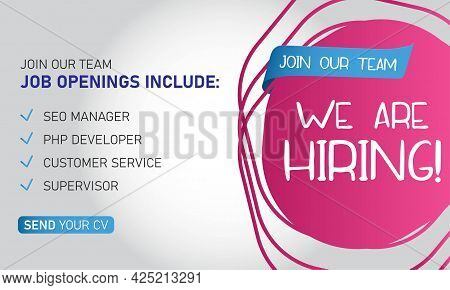 Hiring Recruitment Design Poster. We Are Hiring Lettering With Geometric Shapes. Vector Illustration