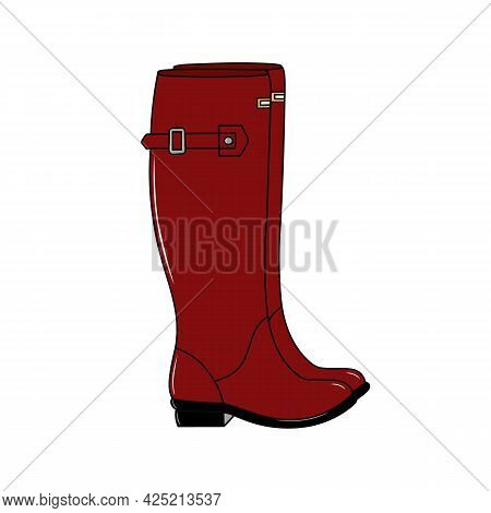 Pair Of Red Shiny Rubber Boots. Waterproof Footwear For Autumn Rainy Weather. Fashion Burgundy Gumbo