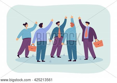 Team Of People Pointing Fingers Upward. Flat Vector Illustration. Business Workers, Partners Posing
