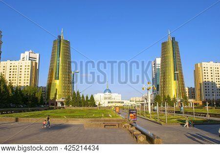 Nur-sultan - Kazakhstan: June 10, 2021: Center Of Nur-sultan, View Of Presidents Residence Ak Orda,