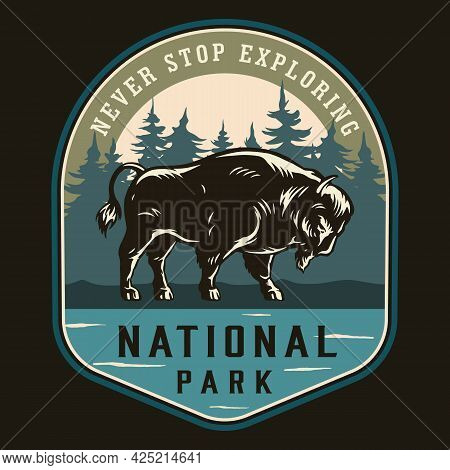 National Park Colorful Label In Vintage Style With Big Bison On Forest Landscape Isolated Vector Ill