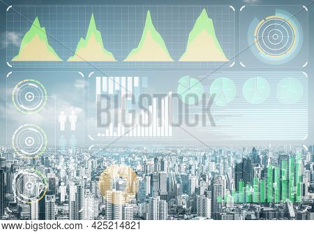 Forex Trading Business Concept With Abstract Financial Graphics On Background Of Modern City Skyline