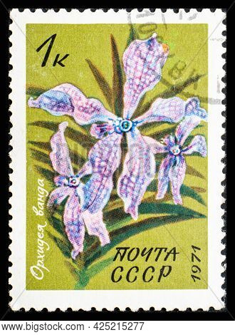Russia, Ussr - Circa 1971: A Postage Stamp From Ussr Showing Flowers Vanda Teres