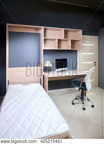 Bedroom Interior With Yellow Unfolded Vertical Mount Murphy Wall Bed, Pull Out Bed Stored Into Worki