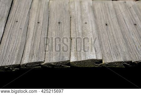 Shingled Wooden Roof On A Building In The Open-air Museum. Roof And Gutters Gutters. The Elements Ar