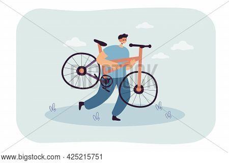 Cartoon Thief With Stolen Bicycle. Male Criminal Stealing Bike Flat Vector Illustration. Theft, Crim