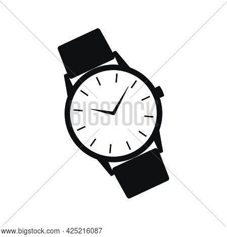 Wrist Watch Icon. Symbol Watch With Band Isolated On White  Background. Design Template Closeup. Wat