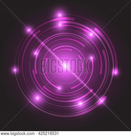 Beautiful Pink Glowing Circle Light, Stock Vector