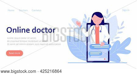 Online Doctor's Consultation. Online Medicine Concept. Advice From The Doctor, Therapist In The Chat
