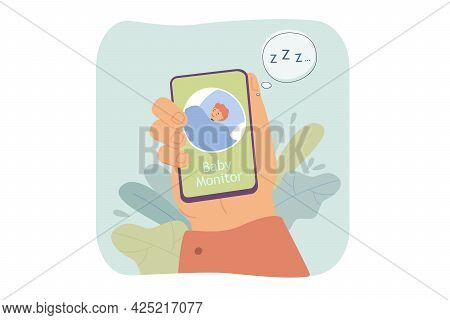 Hand Holding Baby Monitor Flat Vector Illustration. Image Of Baby Sleeping In Another Room Displayin