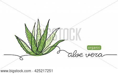 Aloe Vera Plant Sketch, Simple Vector Illustration, Background, Label Design. One Continuous Line Dr