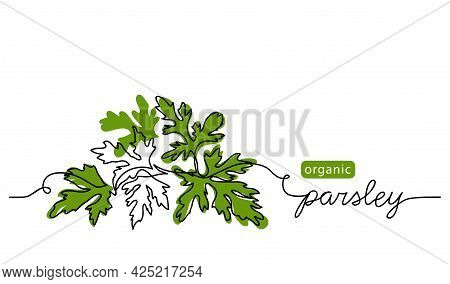 Parsley Sprig, Branch Vector Illustration, Background, Label Design. One Continuous Line Drawing Art