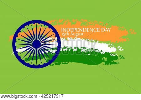 Indian Independence Day Celebration With National Flag Colors And Ashoka Wheel On Light Green Backgr