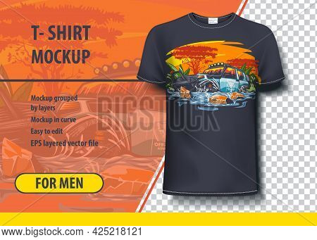 T-shirt Mock-up Template With Off Road, Suv African Adventure. Editable Vector Layout.