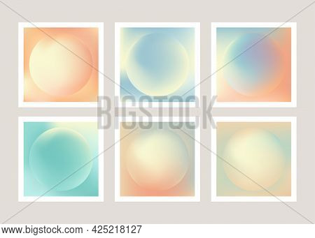 Abstract Holographic Backgrounds In Pastel Color. Digital Paper, Printable Patterns, Pastel Gradient