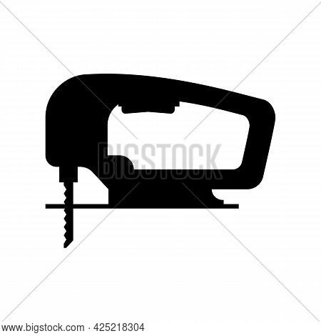Electric Wood Jig Saw. Сarpentry Jigsaw. Power Tool. Silhouette, Vector Drawing On White Background.