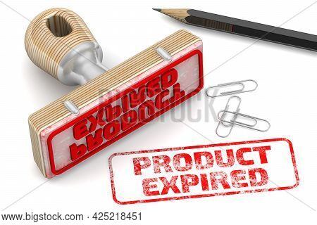 Product Expired. The Stamp And An Imprint. Rubber Stamp And Red Imprint Product Expired On A White S