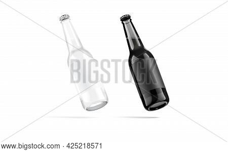 Blank Black And White Glass Beer Bottle With Label Mockup, No Gravity, 3d Rendering. Empty Flask Or