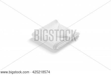 Blaank White Folded Big Towel With Deferred Corner Mockup, Isolated, 3d Rendering. Empty Softness Te