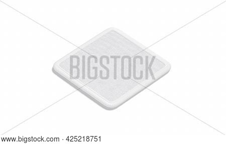 Blank White Square Embroidered Patch Mockup, Side View, 3d Rendering. Empty Textile Stitches Element
