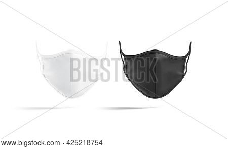 Blank Black And White Fabric Face Mask Mockup, Front View, 3d Rendering. Empty Textile Respiratory F