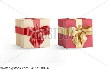 Blank Red And Gold Gift Box Ribbon Bow Mockup, Isolated, 3d Rendering. Empty Festive Care Package Fo