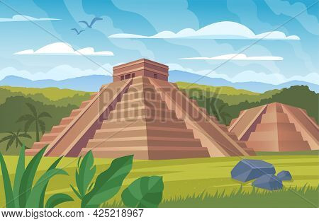 Ancient Mayan Pyramids. Landscape With South American Landmarks, Chichen Itza And Kukulkan Temples,