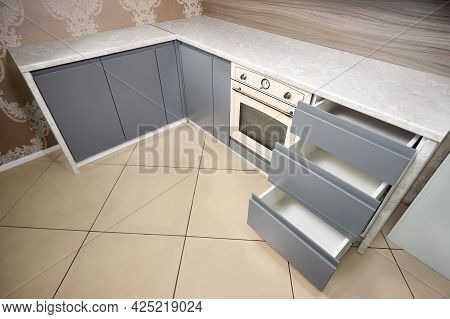 Solution For Placing Kitchen Utensils In Modern Kitchen. Horizontal Sliding Pullout Drawer Shelves S