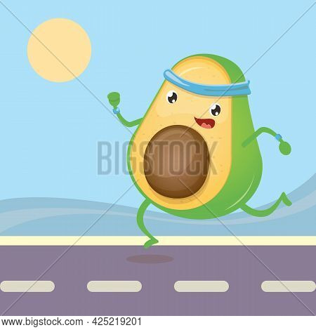Cartoon Avocado Running Or Jogging In Park. Cute Sporty Healthy Food Character Making Sport Exercise