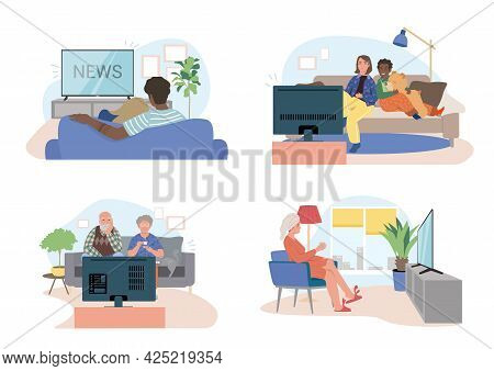 Diffetent Families, Couples, Characters Sitting On Couch, Sofa, Chair And Watching Tv, Male And Fema