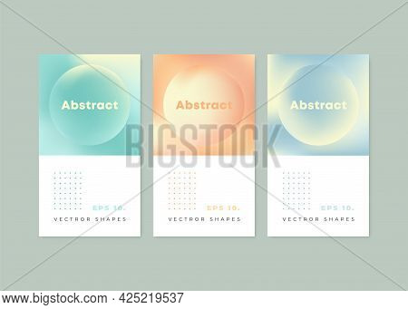Holographic Poster Set. Modern Geometric Covers Design. Holographic Graphic Template For A Book, Cov
