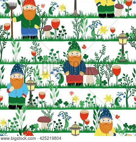 Fairytale Garden Gnome In A Cap, With A Rake. Seamless Vector Pattern. Colorful, Bright Flower Illus