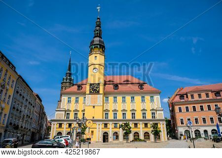 Bautzen, Germany - June 28, 2021: City Hall With Tower In City Bautzen, Germany