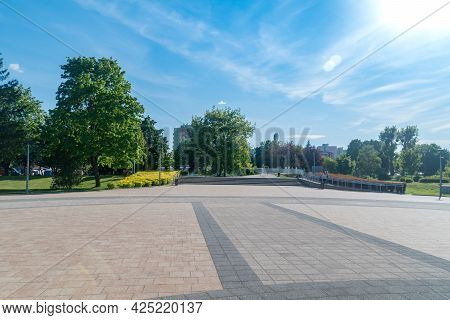 Pila, Poland - May 31, 2021: Square With A Fountain In The Park On The Island. Island Between Gwda R