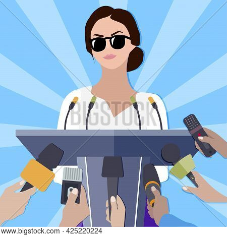 Famous Lady Makes Statement For Press Conference For Mass Media. Woman Presentation Or Press Release