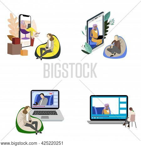 Online Visit To Psychiatrist Concept, Various Patients And Doctors. Psychological Therapist And Reha