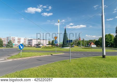Pila, Poland - May 31, 2021: Roundabout Of Solidarity. Solidarity Is Polish Trade Union, Independent