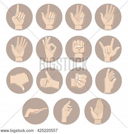 Hands Gestures Set, Counting Fingers. Vector Of Gesture Fist And Thumb Up, Forefinger Pose, Signal P