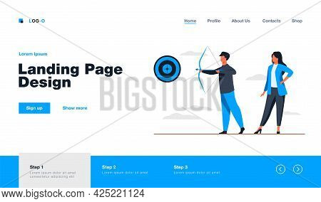 Business People Focused On Goal. Colleagues With Archery Aiming At Target. Flat Vector Illustration.