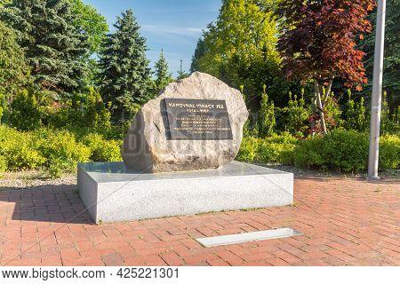 Pila, Poland - May 31, 2021: Memorial Stone Of Cardinal Ignacy Jez. Ignacy Ludwik Jez Was The Latin