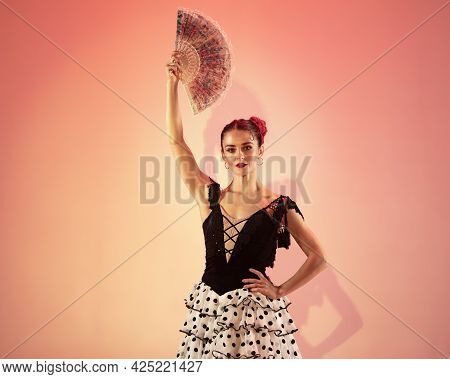 Flamenco Dancer Spain Woman Gypsy With Red Rose And Spanish Hand Fan