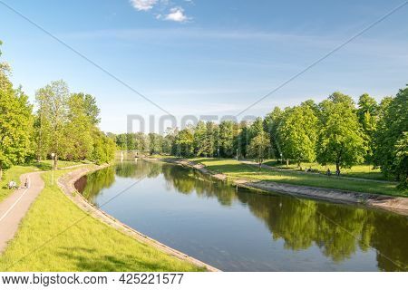 Pila, Poland - May 31, 2021: Beautiful Summer View On Gwda River.